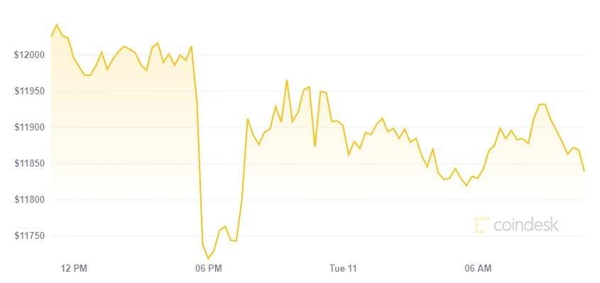 Bitcoin rơi nhanh sau khi chạm 12.000 USD, thị trường đỏ xanh lẫn lộn